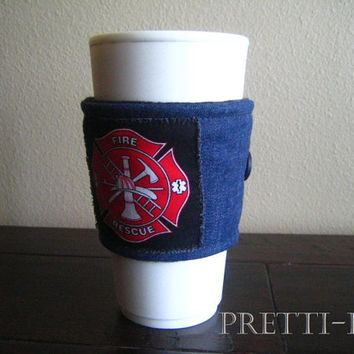 Fireman Coffee Cozy, Jean Fabric Cozy, Fire Rescue Drinkware, Fireman Drinkware, Fire Rescue Accessory, Fireman Gift, Fire Department Gift