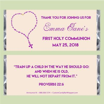 Rosary First Communion Candy Bar Wrapper