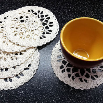 Milk Crochet Coasters Set, Little Crochet Doilies, cotton coaster, lace doily, home decor, table decoration, handmade