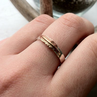 Thick Sterling Silver Hammered Native American Feather Ring