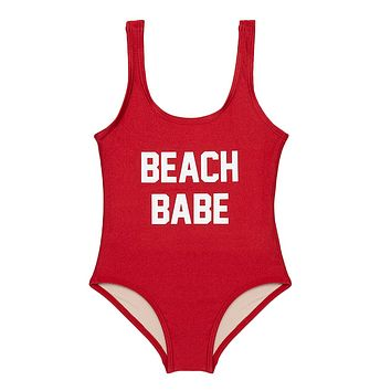 Beach Babe Tank One Piece Swimsuit (Kids) - Ruby Red