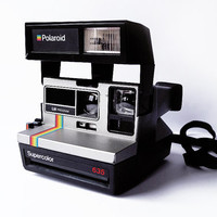 POLAROID Supercolor 635 LM Instant Camera 600 Program Rainbow Stripe Silver Black Super Color Strap Grey Tested Working 80s Vintage Retro