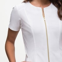 The Biker Top in White - Medical Scrubs by Jaanuu