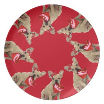 Valentine's French Bulldog red dinner plate