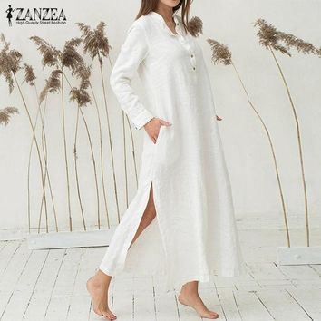 PEAP78W New Arrival 2017 ZANZEA Women Dress Autumn Casual Loose Cotton Vestidos Long Sleeve Sexy Split Hem Maxi Long Dresses Plus Size