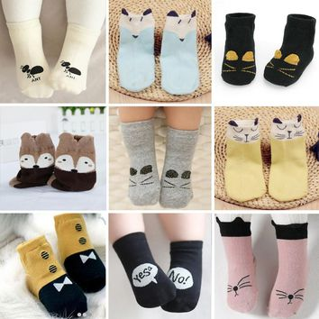 0-4 years old baby and children socks in the thick section of pure Terry spring summer warm cotton