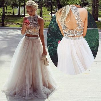 Two Pieces Crystal Beads Prom Dresses Sexy High Neck Crop Top Open Back