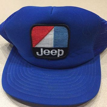 DCCKNY1 Vintage 1980s JEEP Snapback Trucker Mesh Hat Cap Embroidered Patch Blue