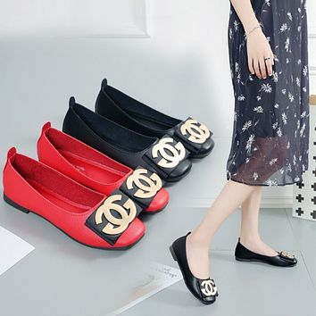Women All-match Fashion Metal Buckle Letter Square-toe Shallow Mouth Loafer Flats Shoes Single Shoes