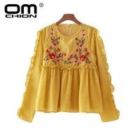 New Spring Autumn Women Blouses Floral Embroidery Ruffles Top O Neck Long Sleeve Shirts