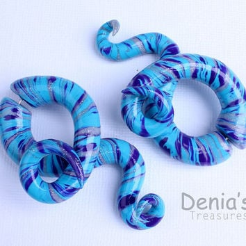 Fake Gauge  Earrings - Blue Waves - Polymer Clay