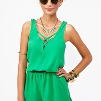Lattice Romper - Green in  Collections Color Coded at Nasty Gal