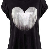 ROMWE | Metallic Fading Heart Black T-shirt, The Latest Street Fashion