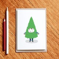 Tree Boy - greeting card / christmas card