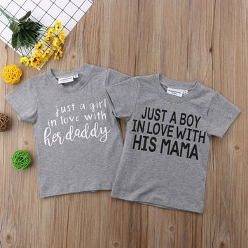 2018 New Casual Toddler Kids Baby Boy Girl Short Sleeve Letter Print Cotton T-shirt Tee Tops Children Clothes 1-6Y