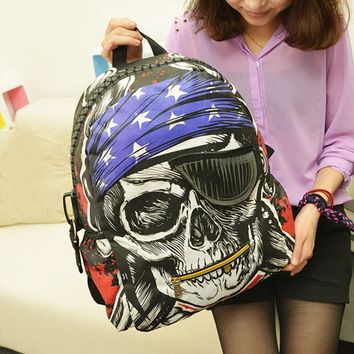 New Personalized Bags School Backpack Feminina Skeleton Package Street Punk Bag Rock Pirate Skull Backpacks