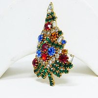 Vintage Rhinestone Christmas Tree Pin - Signed Eisenberg Ice - Multi Colored Rhinestones - Vintage 1980's 1990's - Winter Holiday Jewelry