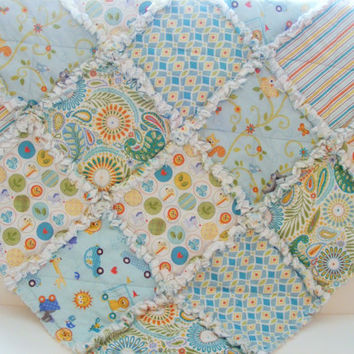 Security Blanket, Lovey Rag Quilt, Doll Quilt, Handmade, Happi by Dena Designs, Pale Aqua, Yellow, Orange, White, 28 X 28  Ready To Ship