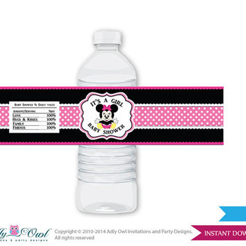 Girl Minnie Mouse Baby Shower Water Bottle Wrappers, Labels, - it's a Girl Black Pink , Polka - oz9bs5