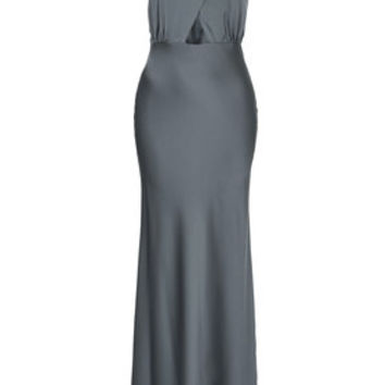 Satin Cross-Over Maxi Dress - Steel Grey