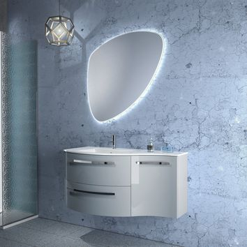 Ambra 43 in. Wall Mounted Bathroom Vanity Right Concave Cabinet Set Bath Furniture