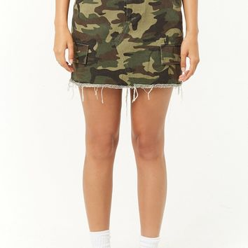 Denim Camo Frayed Mini Skirt