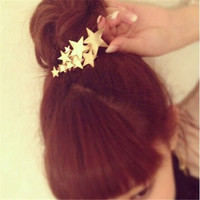 1 Piece Boho Godness Gold Stars Hair Cuff Clip Headband Hairpin Accessory Goth Punk_trq