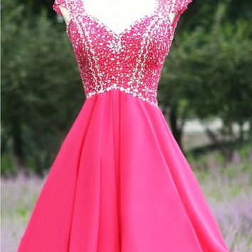 V Neck A Line Sparkly Beaded Short Cocktail Dress Sexy Homecoming Chiffon Open Back Above Knee Formal Party Gowns Prom Dresses