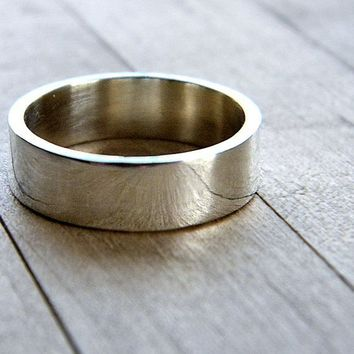 6mm Wide Simple Flat Band Sterling Silver Ring  Size by TheSlyFox