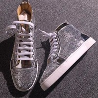 DCCK2 Cl Christian Louboutin Rhinestone Style #1967 Sneakers Fashion Shoes