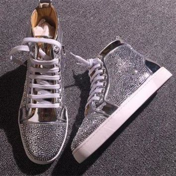 DCCK Cl Christian Louboutin Rhinestone Style #1967 Sneakers Fashion Shoes