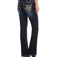 Miss Me Flower-Pocket Bootcut Jeans - Dark Blue