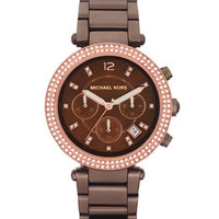 Michael Kors Mid-Size Espresso Stainless Steel Parker Chronograph Glitz Watch - Michael Kors