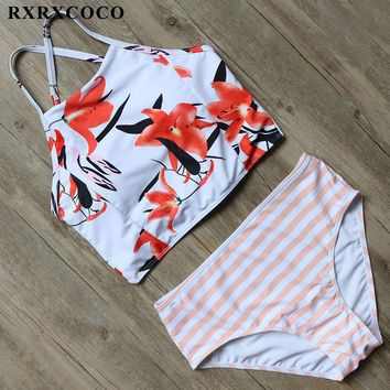 RXRXCOCO High Waist Swimsuit 2017 Sexy Striped Swimwear Women High Neck Bikini Halter Bandage Bikini Set Padded Swimming Suit