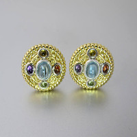 Gold Gemstone Earrings. 14K Yellow Gold. Multi Color Gemstone Cabochons. Byzantine Style Omega Back Stud Earrings
