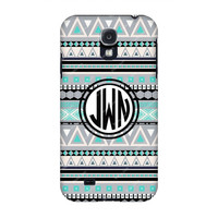 Monogram Samsung case, Galaxy s4 Monogram,Black Turquoise Aztec Monogram Samsung s4 case, Monogram s3/Note 2 case, Customized Samsung Galaxy