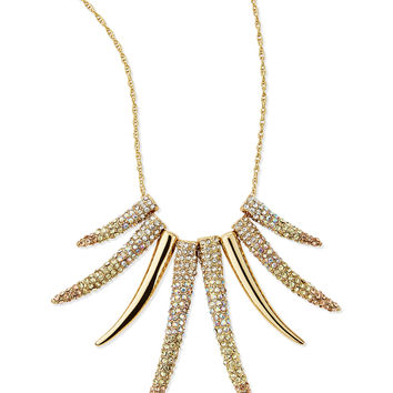 Pave Horn Gradient Long Necklace, Gold - Sequin - Gold (ONE SIZE)