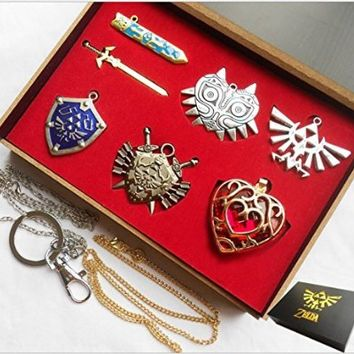 The Legend of Zelda Triforce Hylian Shield & Master Sword Keychain/necklace/ornament Collection (Light gray)