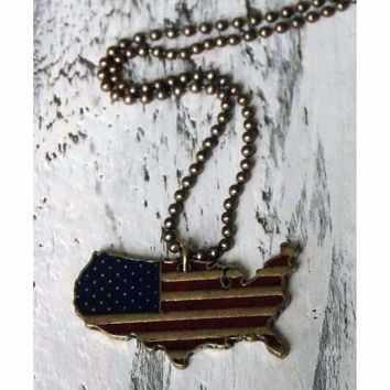 Rustic American Flag Necklace