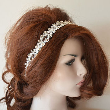 Rhinestone and Ivory Lace headband, Wedding Headband, Bridal Hair Accessory, Lace Wedding Head Piece, Wedding Hair Accessories