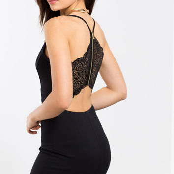 Open Back Lace Bodycon Dress