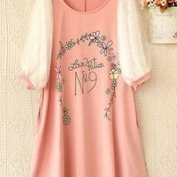 Kawaii Lolita Love Potion Flower Printing Lace Puff Sleeve Dress - Pink, White or Grey from Tobi's Finds