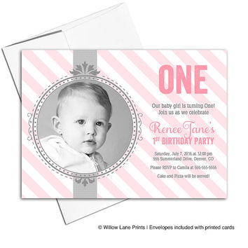 printable 1st birthday invitations for girls | pink gray invites | digital invitation or printed - WLP00307