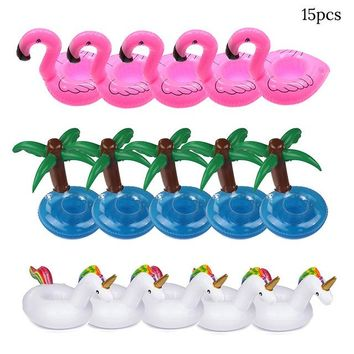 15pcs Unicorn Flamingo Palm Tree Inflatable Cup Holder Drink Floating Party Beverage Boats Pool Hawaii Beach Party Supplies