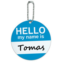Tomas Hello My Name Is Round ID Card Luggage Tag