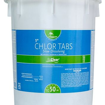 Rx Clear 1-Inch 99% Trichloro Slow Dissolving Stabilized Chlorine Tablets for Use As Bactericide, Algaecide, and Disinfectant in Swimming Pools and Spas (50-Pounds)