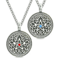 Pentacle Magic Star Celtic Defense Power Amulets Love Couples or Best Friends Blue Red Crystals Necklaces