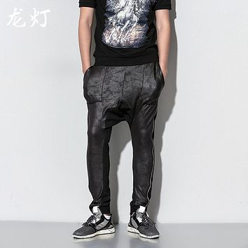 Spring and summer men casual Korean version of large size imitation leather stitching zipper hanging harem pants / M-XXL