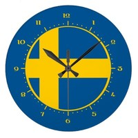Wall Clocks with flag of Sweden