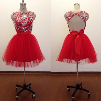 Red Homecoming Dresses 2015 Short Ball Gown/Bow Beaded Homecoming Dress Open Back/Graduation Dress/Prom Dress/Cocktail Dress/Party Dress